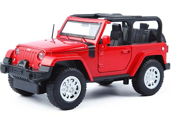 1:32 Scale Red / White / Yellow Kids Diecast Jeep Wrangler Toy