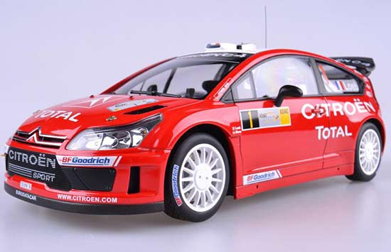 Red 1:18 Scale Autoart WRC 2004 Diecast Citroen C4 Model