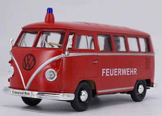 1:24 Scale Red Welly Diecast VW T1 Bus Model