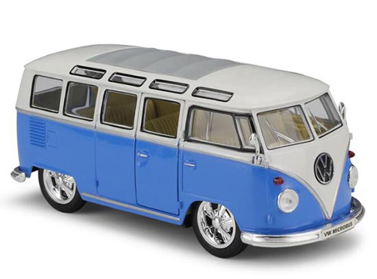 Blue-White 1:24 Scale Welly Diecast VW T1 Bus Model