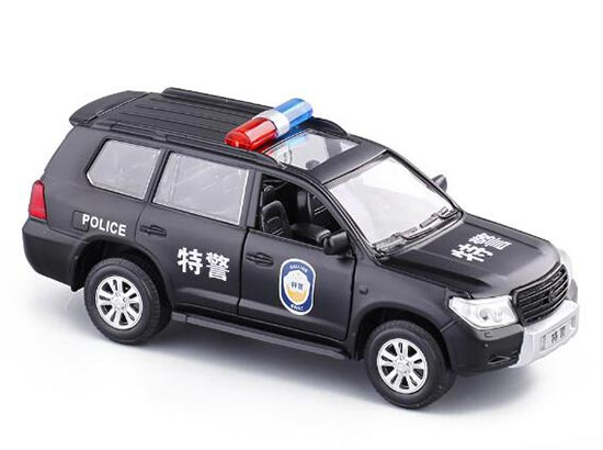 1:32 Scale Black Kids Police Diecast Toyota Land Cruiser Toy