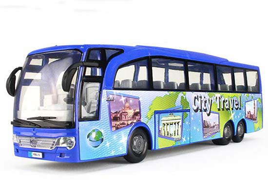 Red / Blue Kids City Travel Plastic Coach Bus Toy