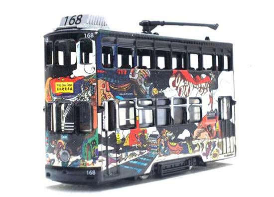Black Hong Kong Mini Scale Diecast Double Decker Tram Toy