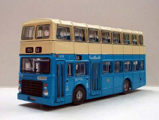 Blue HK CMB Leyland Victory Mk2 Diecast Double Decker Bus Toy
