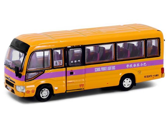 Yellow Hong Kong Toyota Coaster Diecast School Bus Toy