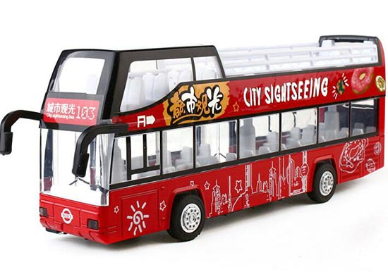 Red City Sightseeing Kids Diecast Double Decker Bus Toy