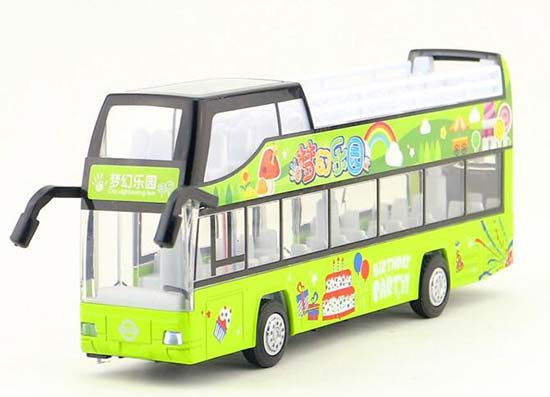 Kids Green Birthday Party Diecast Double Decker Bus Toy