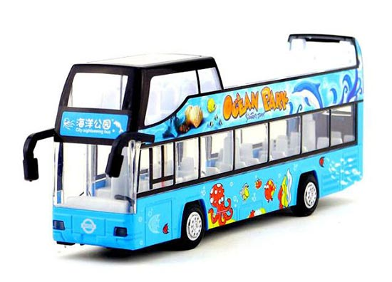Kids Blue Ocean Park Diecast Double Decker Bus Toy