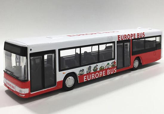 Kids White-Red Diecast Sentosa Europe City Bus Toy