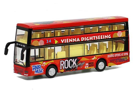 Kids Blue / Red / Yellow Diecast Double Decker Bus Toy