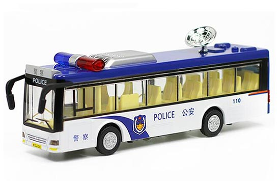 Kids Blue-White Police Diecast City Bus Toy