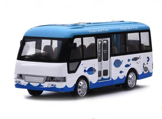 1:40 Scale Kids Blue-White Diecast City Bus Toy