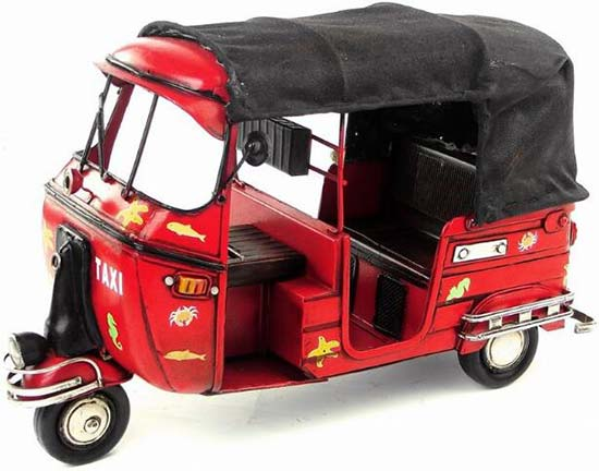 Large Scale Red Vintage Taxi Tinplate Tricycle Vespa Model