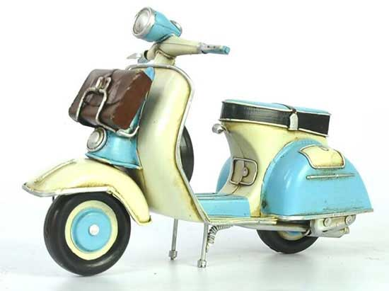 Blue-White Vintage 1:8 Scale Tinplate 1965 Vespa Scooter Model
