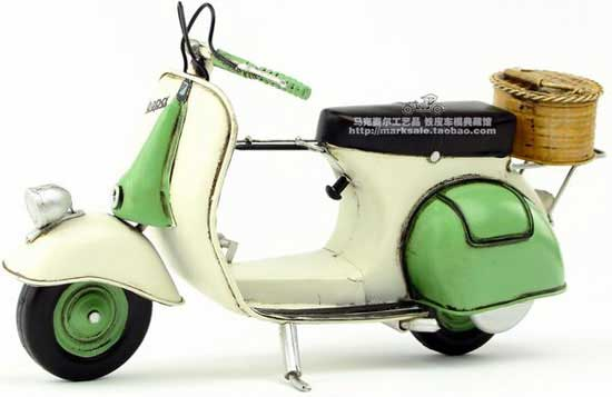Vintage White-Green 1:6 Scale Tinplate 1959 Vespa Scooter Model