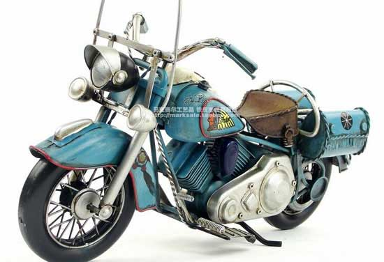 1:6 Scale Retro Blue Tinplate 1969 Indian Motorcycle Model