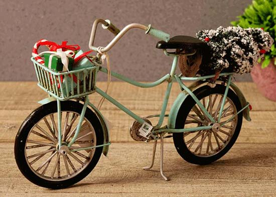 Christmas Gift Yellow /Blue Retro Tinplate Bicycle Model