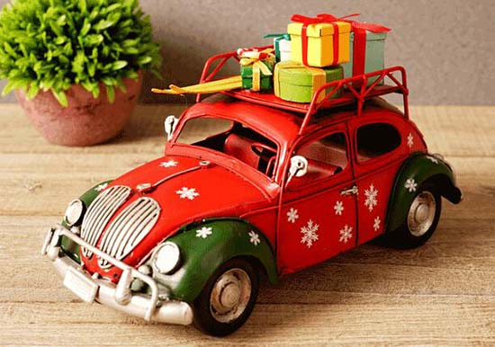 1:16 Scale Christmas Gift Red Retro Tinplate VW Beetle Model