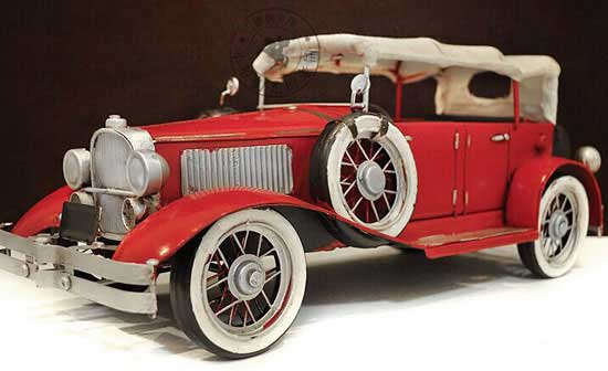 Red 1:12 Large Scale Tinplate 1935 Duesenberg Model SJ Car