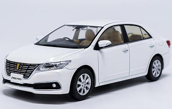 White / Blue 1:30 Scale Diecast Toyota Premio Model