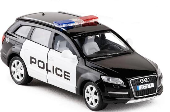 Kids Black-White 1:32 Scale Police Diecast Audi Q7 Toy