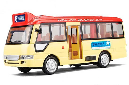 Kids Yellow-Red Pull-Back Function Diecast Coach Bus Toy