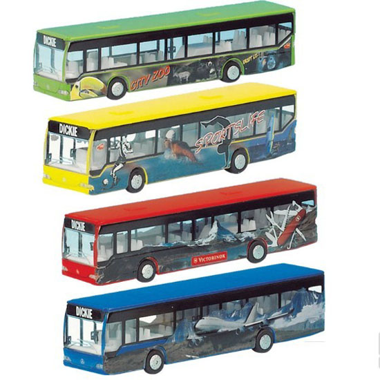 1:87 Scale Yellow / Green / Blue / Red Kids Dickie City Bus Toy