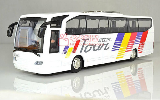 Kids Large Scale White / Blue Electric Tour Bus Toy