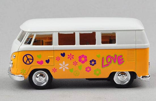 1:36 Scale White-yellow Graffiti Kids 1962 Classical VW Bus Toy