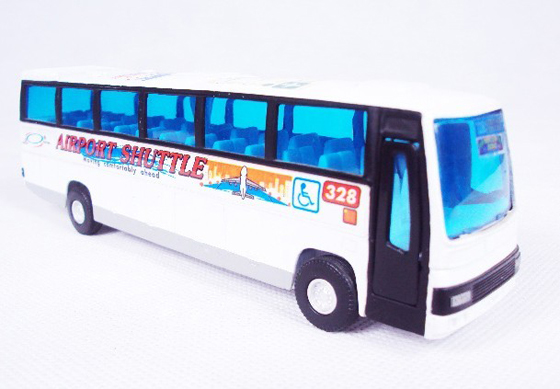 Pull-Back Function Kids White Airport Shuttle Tour Bus Toy