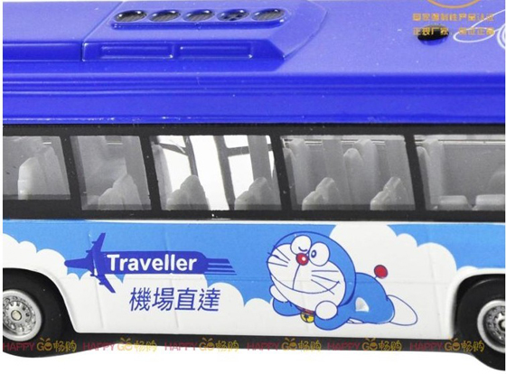 Pull-back Function Kids Sky Blue Doraemon Theme City Bus Toy