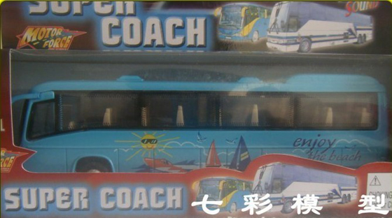1:43 Scale Kids Blue Pull-back Function Ocean Tour Bus Toy