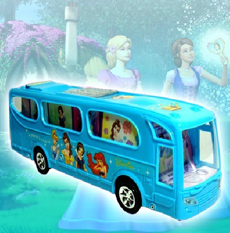 Kids Blue Lovely Cartoon Pattern Electric Bus Toy
