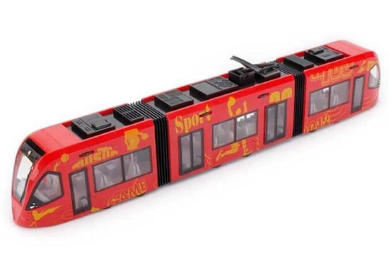 Kids 1:43 Scale White / Red Plastic City Express Trolley Bus Toy