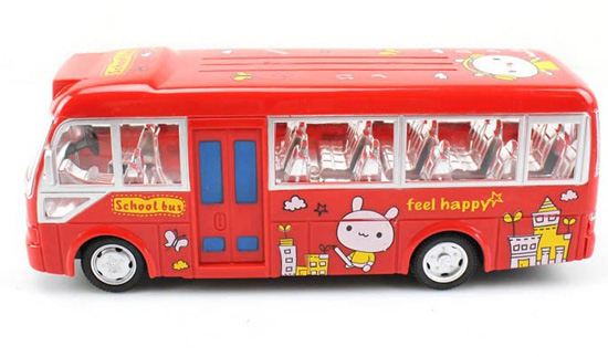 Kid Plastic Yellow /Red Full Function Cartoon Design R/C Bus Toy