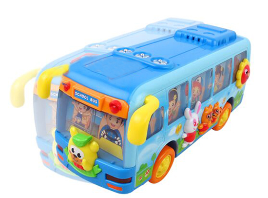Blue Kids Cartoon Design Music Educational School Bus Toy
