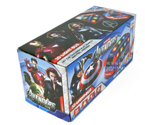 Blue Cartoon Design Avenger Theme Kids Electric Bus Toy