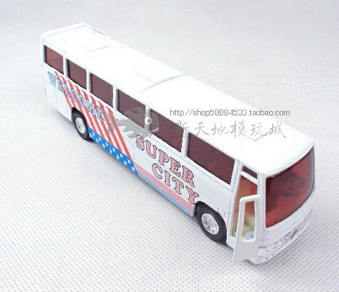 Kids White Pull-back Function Super City Bus Toy