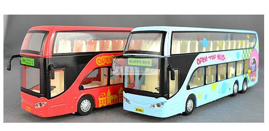 Pull-back Function Kids Red / Green HAPPY Double-decker Bus Toy