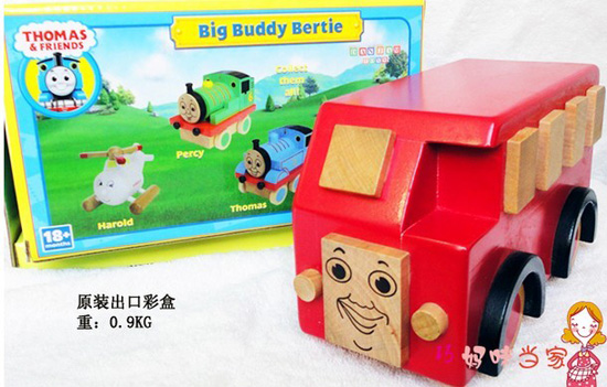 Kids Red Sweet Smile Wooden Bertie Bus Toy