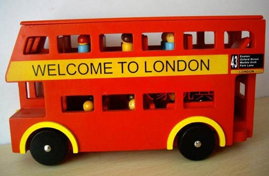 Kids Red Wooden Double-decker London Bus Toy With Passengers