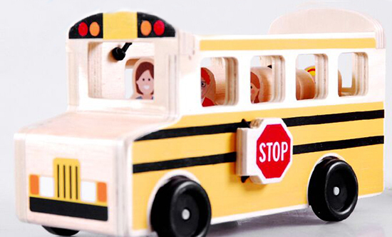 Kids Yellow Wooden Role Play Games Toy School Bus