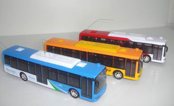 Kids 1:32 Scale Blue / Red City Express R/C Bus Toy