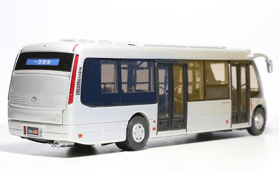 1:36 Scale Silver Chinese FAW Coach Bus Model