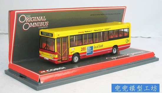 1:76 Scale Yellow-Red Corgi Britain Singledecker Bus Model