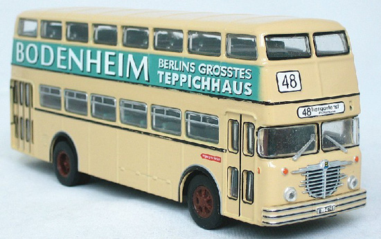 1:72 Scale White Bussing D2U Double-Decker Bus Model