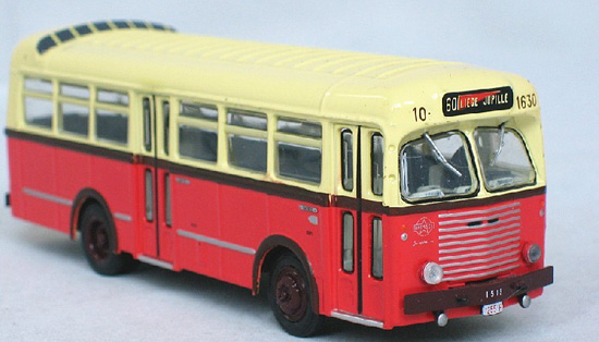 1:72 Scale White-red ATLAS Brossel Jouckheere Bus Model