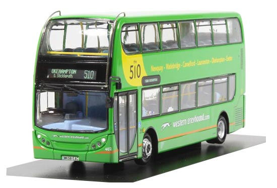1:76 Scale Green CMNL Dennis E400 Double-decker Bus Model