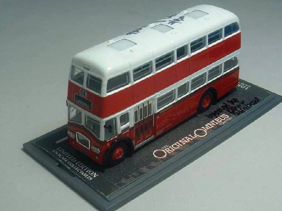 1:76 Scale White-red Corgi NO. 101 Double-decker Bus Model