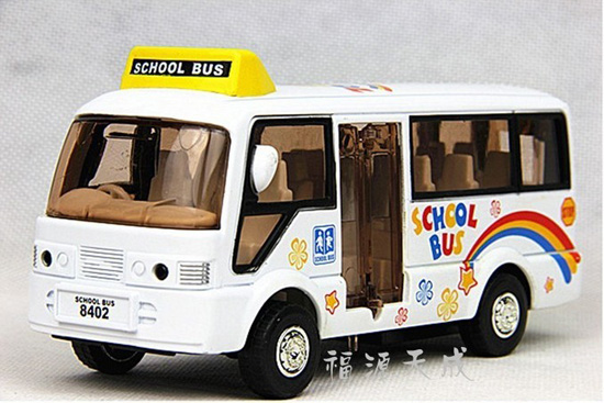 1:50 Scale Pull-back Function White Kids School Bus Toy